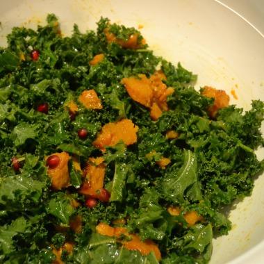 kale pumpkin and pomegranate salad